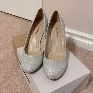 Call It Spring Silver Glittery Heels